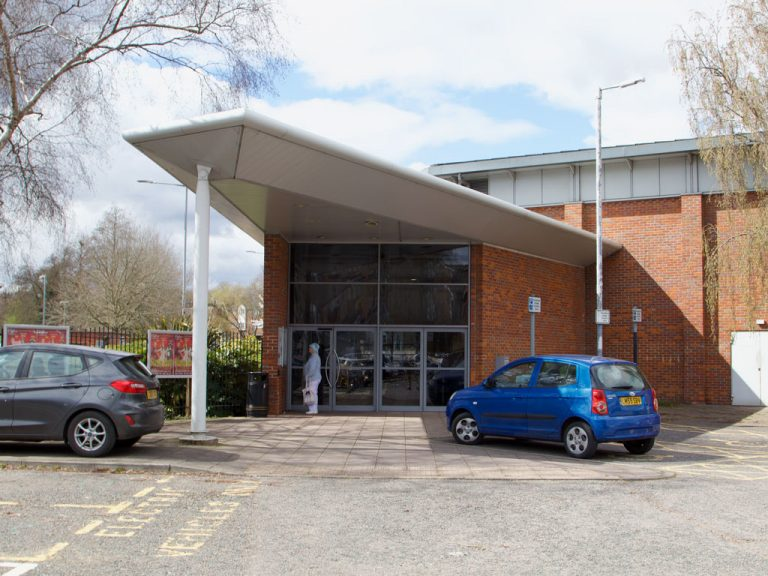 The entrance from the car park