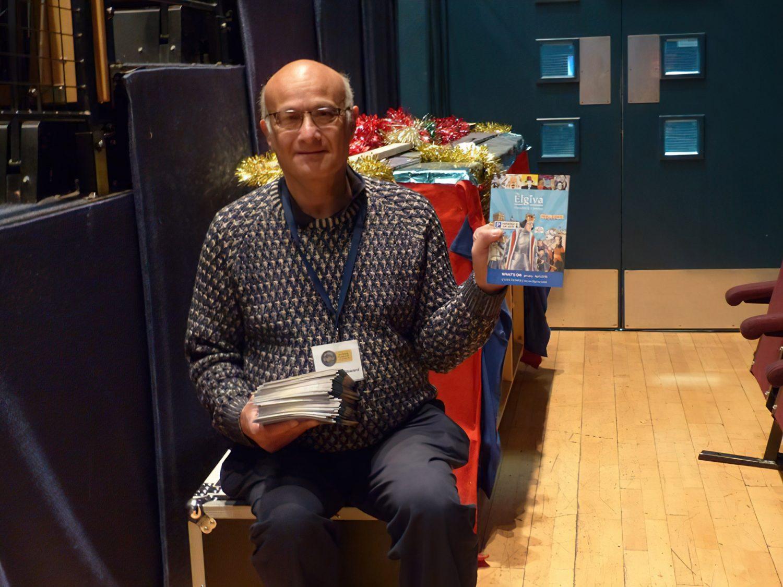 Volunteer Nigel hands out the Elgiva brochure