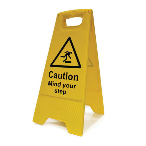 Caution – mind your step sign